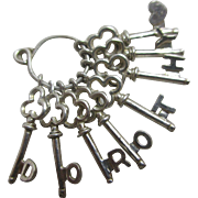 Sterling silver name 'Dorothy' heart key English charm vintage c1960