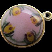 Pink enamel 10k gold pendant charm vintage Art Deco c1920