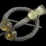 Citrine sterling silver Scottish celtic cloak pin brooch antique Victorian c1860