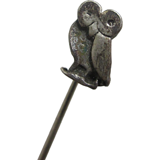 Silver plate on brass owl bird stick pin brooch vintage Art Deco c1920