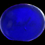 Intaglio Bristol blue glass name 'Charles' seal for repairs antique Georgian c1820