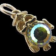 9k / 9ct gold iridescent crystal paste owl bird charm Vintage c1970