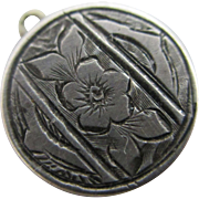 Forget me not flower sterling silver pendant charm antique Victorian c1890