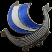 Norwegian guilloche enamel viking long boat brooch pin vintage c1950 by Aksel Holmsen