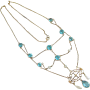 Natural blue zircon & pearl in 10k gold dangling pendant necklace vintage Art Deco c1920