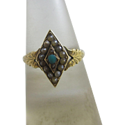 Turquoise & seed pearl 15k / 15ct gold ring size UK M antique Victorian 1899 hallmarked