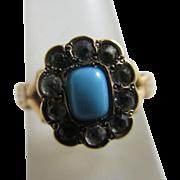 15k / 15ct gold turquoise faux diamond paste ring size UK J+ antique Victorian c1860