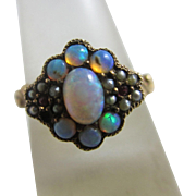 15k / 15ct gold fiery opal seed pearl ruby paste ring size UK N+ / US 7 antique Victorian c1890