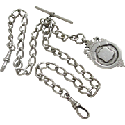 Sterling silver double albert watch chain with shield fob vintage 1919 Chester Art Deco