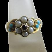 Seed pearls garnet flower & turquoise 15k / 15ct gold locket ring antique Victorian c1860