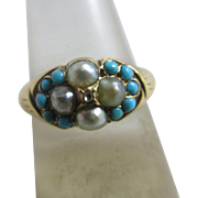 Rose cut diamond seed pearls & turquoise 15k / 15ct gold ring antique Victorian c1890