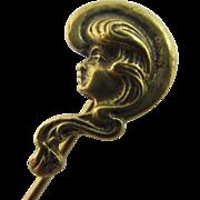 14k / 14ct gold ladies face stick pin brooch antique Art Nouveau c1890