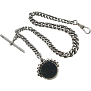 Sterling silver graduating albert watch chain with double spinning fob antique Victorian 1895 hallmarked