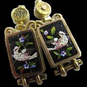 Micro mosaic bird 15k / 15ct gold dangling ear pendant earrings antique Victorian c1840