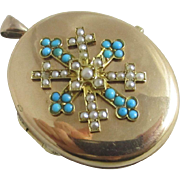 Turquoise & seed pearl cross 15k /15ct gold double pendant locket antique Victorian c1860