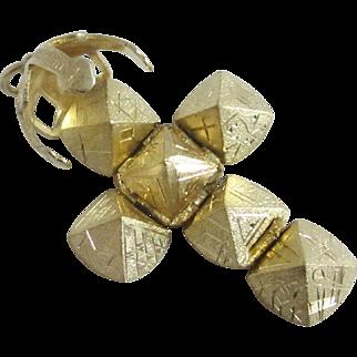 9k / 9ct on sterling silver masonic cross ball pendant vintage Art Deco c1920