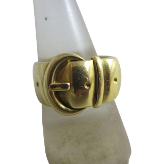 18k / 18ct gold buckle ring size UK R / US 8.75 antique Victorian c1890
