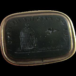 9k gold case intaglio shell flying bird fob seal pendant antique Victorian c1890