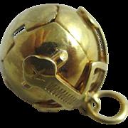 9k / 9ct gold on sterling silver masonic ball cross pendant fob vintage Art Deco c1920