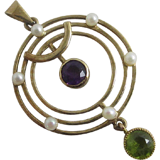 Amethyst peridot & seed pearls in 9k / 9ct gold dangling pendant lavalier in suffragette colours Vintage 1982