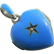 Sterling silver baby blue enamel heart double locket antique Victorian c1890