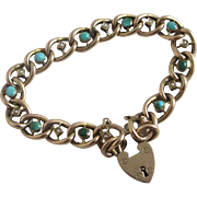 Turquoise & seed pearl 9k / 9ct gold bracelet antique Victorian 1899 marked