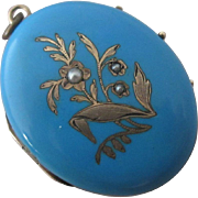 Baby blue enamel seed pearls 15k / 15ct gold double pendant locket antique Victorian c1860