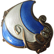 Norwegian enamel sterling silver viking long boat brooch pin vintage Art Deco c1920