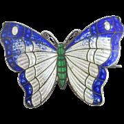 Sterling silver guilloche enamel butterfly brooch pin Vintage c1950