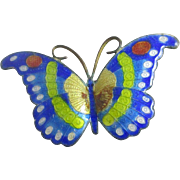 Enamel butterfly brooch pin vintage Art Deco c1920