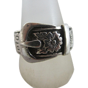 Sterling silver forget me not buckle ring vintage 1975 Hallmarked