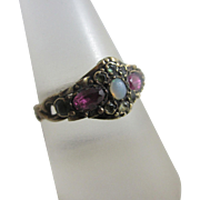 Fiery opal with green & pink tourmaline in 15k / 15ct gold ring antique Victorian 1863 marked