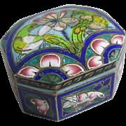 Enamel birds & flowers sterling silver trinket pill box antique Victorian c1890