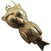 9k / 9ct gold puffy owl bird pendant charm Vintage c1970