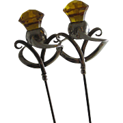 Citrine paste thistle flower tops to this pair of hat pins by Charles Horner antique edwardian 1911 Chester