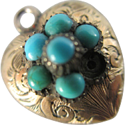 Turquoise in 15k / 15ct gold heart locket pendant charm antique Victorian c1860
