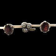 Seed pearl lucky shamrock garnet 9k / 9ct gold brooch pin antique Victorian c1890