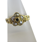18k / 18ct gold seed pearl mourning locket ring antique Victorian c1860 a/f