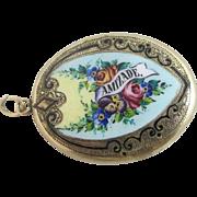 Enamel on 9k / 9ct gold name 'Amizade' pendant locket antique Victorian c1890 a/f