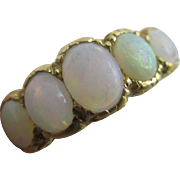 Fiery opal set in 18k / 18ct gold ring size UK N+ / US 7 vintage Art Deco c1920