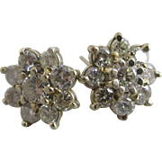 Approx 1ct diamond 14k / 14ct white gold stud earrings Vintage c1980
