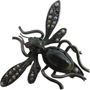 Cats eye seed pearl sterling silver bug brooch pin antique Edwardian c1910
