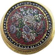 Inscribed 1864 micro mosaic flower 15k / 15ct gold brooch pin antique Victorian