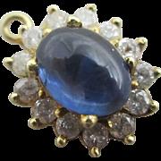 Cabochon sapphire diamond 14k / 14ct gold pendant vintage Art Deco c1920