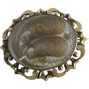 Large inscribed 1849 hair mourning brooch pin 9k / 9ct gold antique Victorian