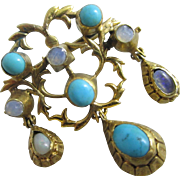 Fiery opal & turquoise 15k / 15ct gold dangling pendant brooch pin antique Victorian c1860
