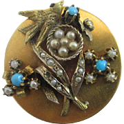 Turquoise & seed pearls in 9k / 9ct gold cased swallow bird nest brooch pin antique Victorian c1890