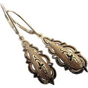 Black enamel & 14k / 14ct gold dangling ear pendant earrings vintage Art Deco c1920