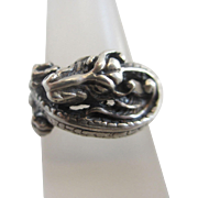 Sterling silver dragon ring size UK O / US 7.25 vintage c1970