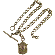 9k / 9ct gold double albert graduating watch chain with inscribed pendant fob vintage Art Deco 1924 marked